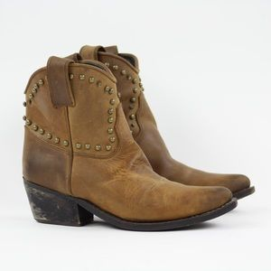 Jeffrey Campbell Brown Studded Ankle Booties Sz 9